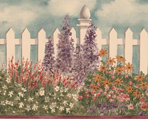 Largo rosso bianco viola fiori di sfondo floreale bianco fence border design retrò, roll 15'x 17,8cm