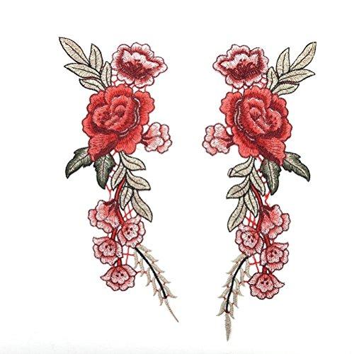 Bubudong 2 Stück Rose Blumenstickerei Top Patches Patches Bügeleisen auf Patches für T-Shirt Jeans Hut Dekor (Kleid Hosen Bügeleisen)