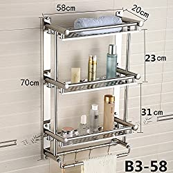 Hlluya Handtuchhalter Edelstahl mit integrierten Ablagen Handtuchhalter Bad WC Badezimmer 3 Tier Handtuchhalter an der Wand, b 358 cm
