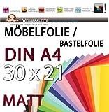 (EUR 15,87 / Quadratmeter) Bastelfolie DIN A4 Bogen 21cm x 30cm PVC Selbstklebende Folie MATT Möbelfolie (Transparent Klar) Möbelfolie