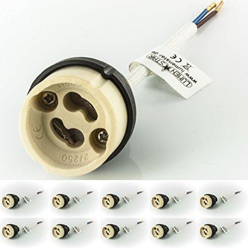 Preisvergleich Produktbild 10x LumenStar® Fassung GU10 230V für LED und Halogen aus Keramik mit Kunststoff-Schutzkappe