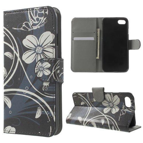 jbTec® Flip Case Handy-Hülle zu Apple iPhone 7 - BOOK MOTIV #02 - Handy-Tasche, Schutz-Hülle, Cover, Handyhülle, Ständer, Bookstyle, Booklet, Motiv / Muster:Weiße Blumen B04 Weiße Blumen B04