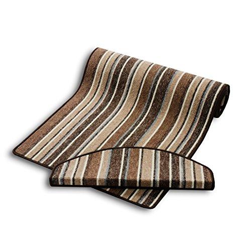 Stufenmatten | braun gestreift | Qualitätsprodukt aus Deutschland | GUT Siegel | kombinierbar mit Teppich Läufer | 65x23,5 cm | halbrund | 15er Set