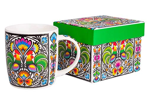 FOLK Kubek FOL Hania w pudelku koguty / Folklore polonais Mug en pocelaine dans box