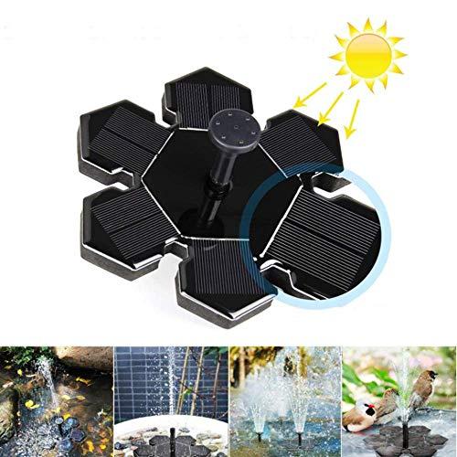 Jiamiao Solar Springbrunnen, Solar Teichpumpe mit 1.5W Solar Panel Schwimmende Fontäne Wasserpumpe, 4 Düsen für Gartenteich, Vogel-Bad, Fisch-Behälter, Kleinen Teich, Kinderbecken -