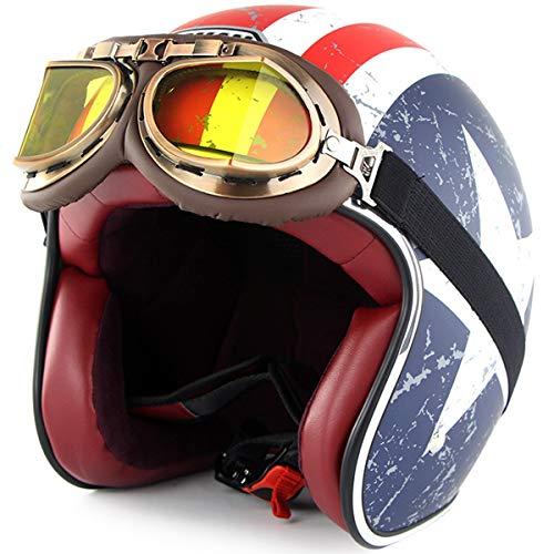 XWQXX Motorrad Elektroauto Helm Harley Retro Männer und Frauen Sommer Halbhelm Schutzhelm mit Harley Schutzbrille Persönlichkeit Anzug,Captain America-L - Frauen-union-anzug