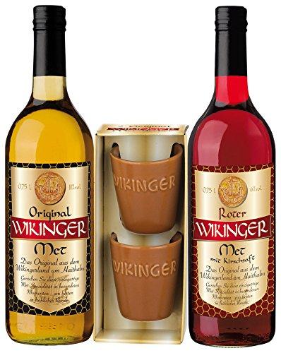 Original Wikinger Met rot und gelb Geschenkpackung (2 x 0,75 l), inkl. 2 Trinkbecher