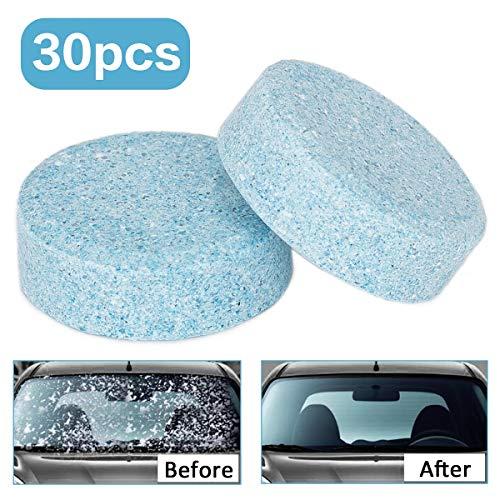 Wemk 30Pcs Liquido lavavetri Pastiglie Effervescenti, Car Parabrezza Pulizia Accessori per Auto Detergente per vetri Auto Solid Wiper, Rispetto dell'ambiente, Risparm