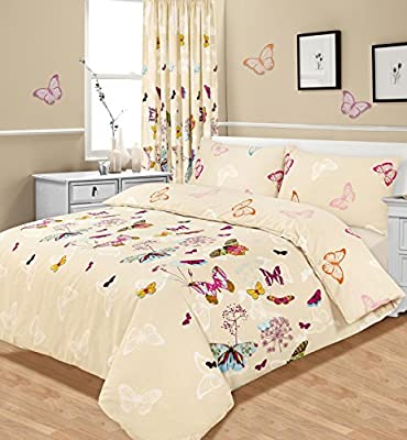 King Size Duvet / Quilt Cover Bedding Set Multi Butterfly Glaze
