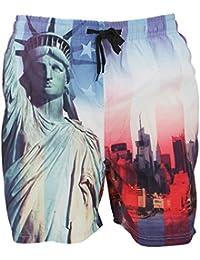 Soulstar Mens Swim Shorts Liberty USA New York Print Mesh Lined Trunks