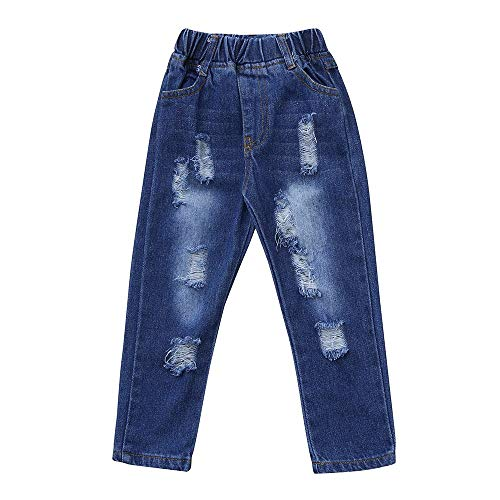 (ALISIAM Winter Weihnachten Kind Unisex Mode Cool Freizeit Gemütlich Warm halten Loch Jeans Hose Kinderkleidung)