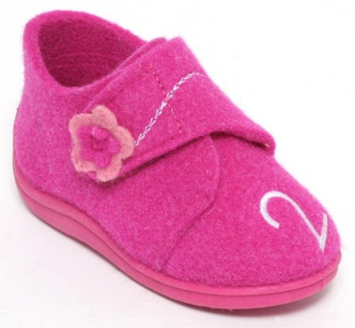 Filz Kinder Hausschuhe Gr.21-30 Klettverschluss Schuhe Puschen Pantoffeln Pink