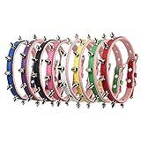 Fully 2X Hundehalsband Katze Halsband Nieten PU Leder Halskette mit D-Ring Kragen Punk Blogger Verstellbar Welpen Labrador Huskie (Größe L: Halsumfang: 37-47cm/14.56-18.5