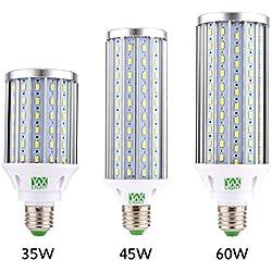 YWXLight luces de bulbo del maíz del LED 35W, 45W, 60W bombilla del maíz del LED (E26 / E27) Blanco fresco 5500K-6500K, LED bombilla de la lámpara de maíz, luz de calle del LED, de 360° grados reflector, para garaje, camino de entrada, almacenamiento, Sch , 60W , 220V