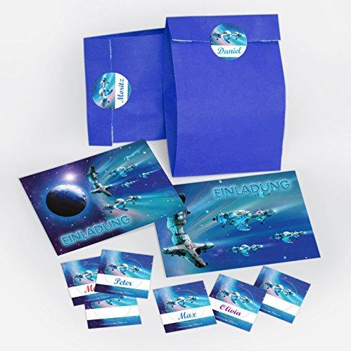 12 Einladungskarten zum Kindergeburtstag incl. 12 Umschläge + 12 Party-Tüten + 12 Aufkleber / Space-Party Weltraum Raumschiff Weltal Spaceshuttle / Einladungen zum Geburtstag (12 Karten + 12 Umschläge + 12 Party-Tüten + 12 Aufkleber)