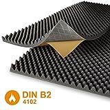 Noppenschaumstoff - selbstklebend - anthrazit - DIN4102 B2 - Akustik Plus - 2 Platten je 100 x 50 cm - Höhe 6 cm