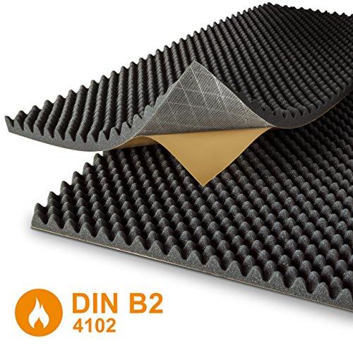 Noppenschaumstoff - selbstklebend - anthrazit - DIN4102 B2 - Akustik Plus - 2 Platten je 100 x 50 cm - Höhe 4 cm