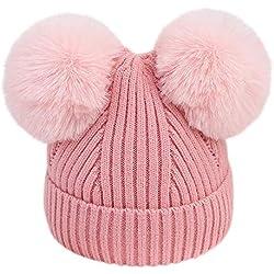 K-youth Gorras Bebé Recién Nacido para 3 a 18 Meses Sombreros Bebé Invierno Sombrero de Punto Niña Pelota de Felpa el Sombrero Caliente Beanie Gorras para Niñas y Niños