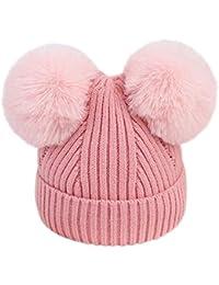 TTMall Cappello Bambina Berretti Invernali Ragazza Crochet Cappello A  Maglia Bimbo Caldo Cappello Doppio PON di Pelliccia Bambino… e4a11366446c