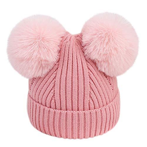 URSING Wintermütze Säugling Baby Mädchen Jungen Häkelstrick Winter Warm Faux Pelz Ball Hut Mütze Kappe Super Gemütlich Einfarbig Pelzkugel gestrickt Hüte & Mützen Kindermützen (Pink-) (Minion Mütze Hut)