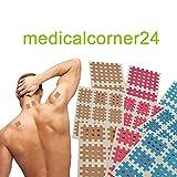 Medicalcorner24 Kinesiologie Gittertape 102 Stück, Cross-Patches, Cross Tape in versch. Größen und Farben, Beige, Blau, Pink