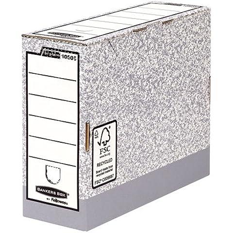 Fellowes Bankers Box 10805 - Caja de archivo definitivo automático, A4, lomo 100 mm, gris jaspeado (10 unidades)