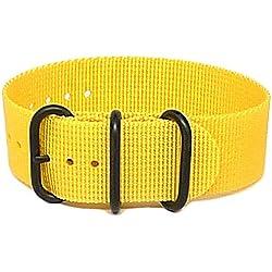 DaLuca Ballistic Nylon NATO 1 Piece Watch Strap - Yellow (PVD Buckle) : 20mm