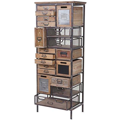 Apotheker-Schrank HWC-A43, Kommode, Tanne Holz massiv Vintage Shabby-Look 143x56x33cm