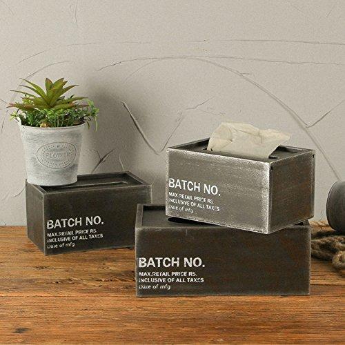 Stile industriale scatola del tessuto portatovaglioli in legno metallo vernice box hotel bar cafe 18x12x10cm black