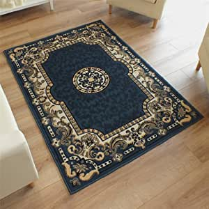 New Large Traditional Rug Petrol Blue 1.2m X 1.7m (4' X 5'6 Approx)