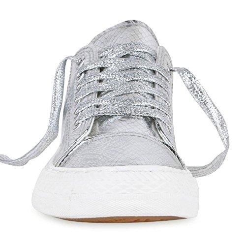 Modische Damen Sneakers Low Metallic Schnürer Freizeit Schuhe Silber