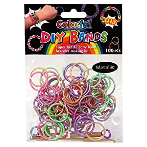 Loom Bands Colorful Silicone Metallic Multi Colours 100 with Clips & Loom Tool