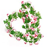 Jooks Weben Rose Rattan KüNstliche Rose Blume Rattan Rose Flower Vine GrüN Blattrebe Girlande Hauptwanddekor Hochzeitsparty Home Gartendekoration Rosa