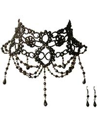 Trachtenschmuck Dirndl Perlencollier - Burlesque Kropfkette - schwarze Perlchen - Kette & Ohrhänger