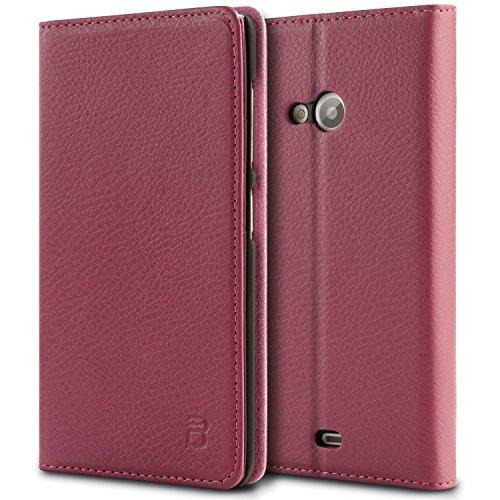 Microsoft Lumia 535 Tasche, BEZ® Microsoft Lumia 535 Hülle, Schutzhülle Handyhülle aus Kunstleder Flip Cover Taschenhülle mit Kreditkartenhaltern, Standfunktion, Geldbeutel, Magnetverschluss - Rosa