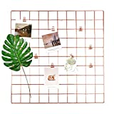Gitter Pinnwand, DIY Metall foto Wand gitter Dekoration und Schreibtisch Organisation für memo Artwork - Hängenimhaus - Küche - Büro - rose gold deko -58 * 58 cm