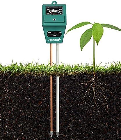 Analyseur de sol, Fosmon 3-en-1 pH Meter / sonde de sol de mesure de l'humidité, de la lumière et du pH pour la culture de votre jardin, pelouse, ferme, plantes, fleurs, légumes, herbes et plus