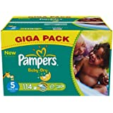 Pampers Baby Dry Nappies, Size 5 (Total 114 Nappies)