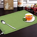 #6: Yellow Weaves 6 Piece Cotton Placemat, WI2218 (Green)