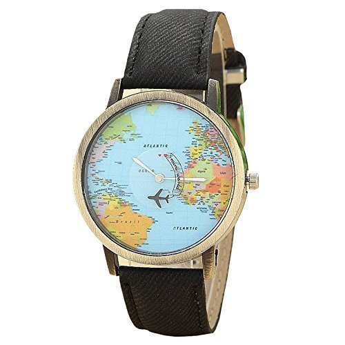 Mini World Unisex Armbanduhr Weltkarte bewegliches Flugzeug als Sekundenzeiger Analog Quarz bronze schwarz
