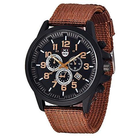 SHOUBIAO® Regarder Toile Pour Homme Horloge 24 Heures Calendrier Horloge Montre Sport , Coffee
