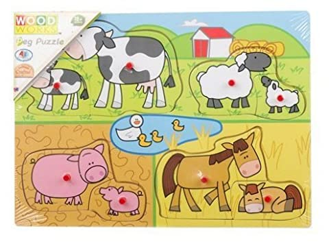 Wood Works Wooden Peg Puzzles Farm Animals and Safari Animals Perfect Gift for Toddlers Only One Piece Supplied (Farm Animals)