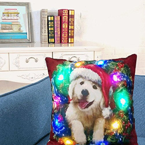 Xshuai Modische kühle Entwurfs-waschbare Weihnachtsbeleuchtung LED-Kissen-Abdeckungs-Ausgangsdekor-Wurf-Kissen-Sofa-Blitzen (45cm * 45cm Mehrfarben A / B / C / D / E / F / G / H) (B)