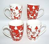 Weihnachtsbecher Punschbecher Rentier Rot/Weiß 4 Stück
