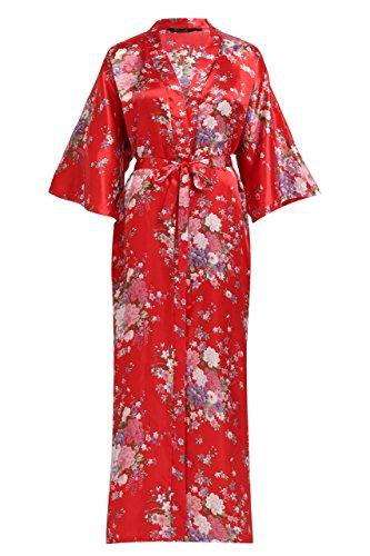 """ArtiDeco Kimono Floral Largo Bata Novia Kimono de Seda 1920s Ropa de Dormir Despedida de Soletera Túnica Larga 53 """""""