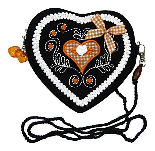 Damen Dirndl Handtasche Herz Umhängetasche - Herztasche (Herzmuster orange (schwarz))
