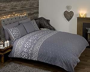Nordique Scandinave Festif Hiver Housse de couette parure de lit, gris, Taille unique
