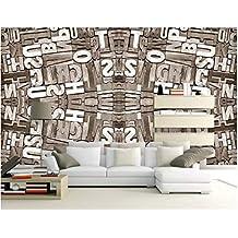 BHXINGMU Mural Papel Tapiz Fotográfico Personalizado Letras Inglesas Vintage 3D Papel Tapiz Artístico Decoración De La