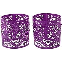 6pcs Abat-jour de Bougie à LED Décoration pour Mariage Noël Motif de Coeur - Violet Foncé