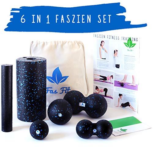 Fas Fit Faszienrolle - 6teiliges Foam Roller Set aus 2 Massagerollen & 4 Faszienbällen - Inklusive Poster, Übungsheft, E-Book und Aufbewahrungstasche (Schwarz/Blau (Härtegrad: Mittel) - 6 in 1 Set)
